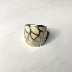 Silver and Light Yellow Ring